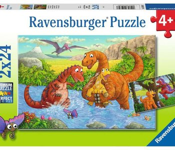 Dinosaurs at Play 2x24pc Puzzles