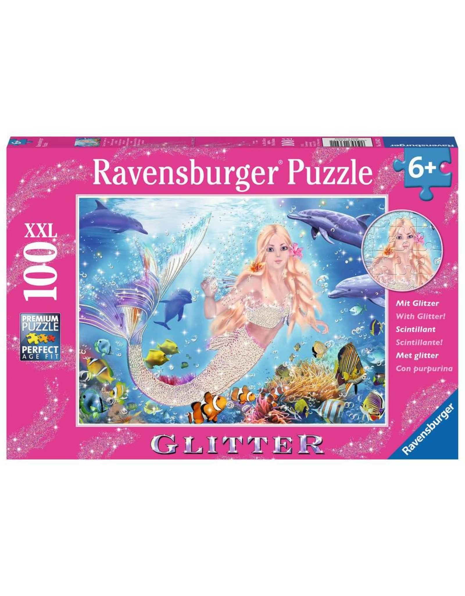 Ravensburger Mermaid and Dolphins 100pc Glitter Puzzle