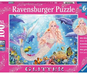Mermaid and Dolphins 100pc Glitter Puzzle