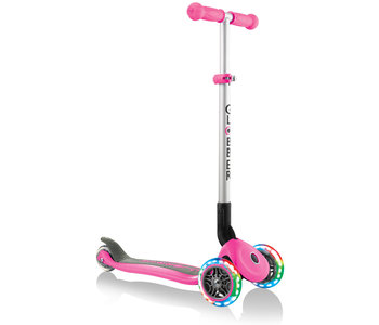 Globber Primo Foldable Scooter with Lights - Deep Pink