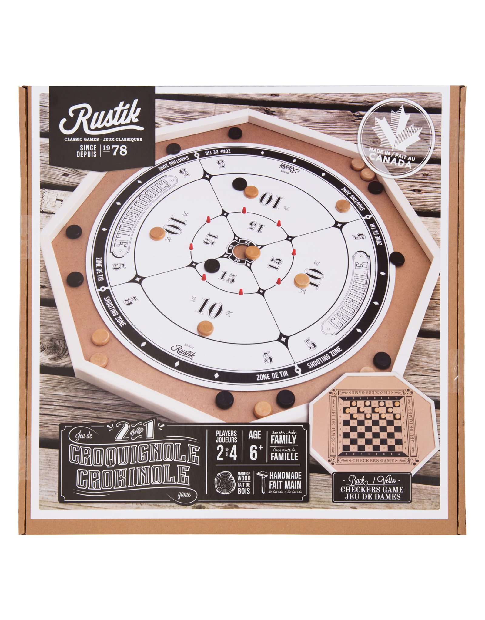Rustik Crokinole Board 2 Games in 1
