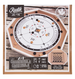 Rustik Crokinole Board 2 Games in 1