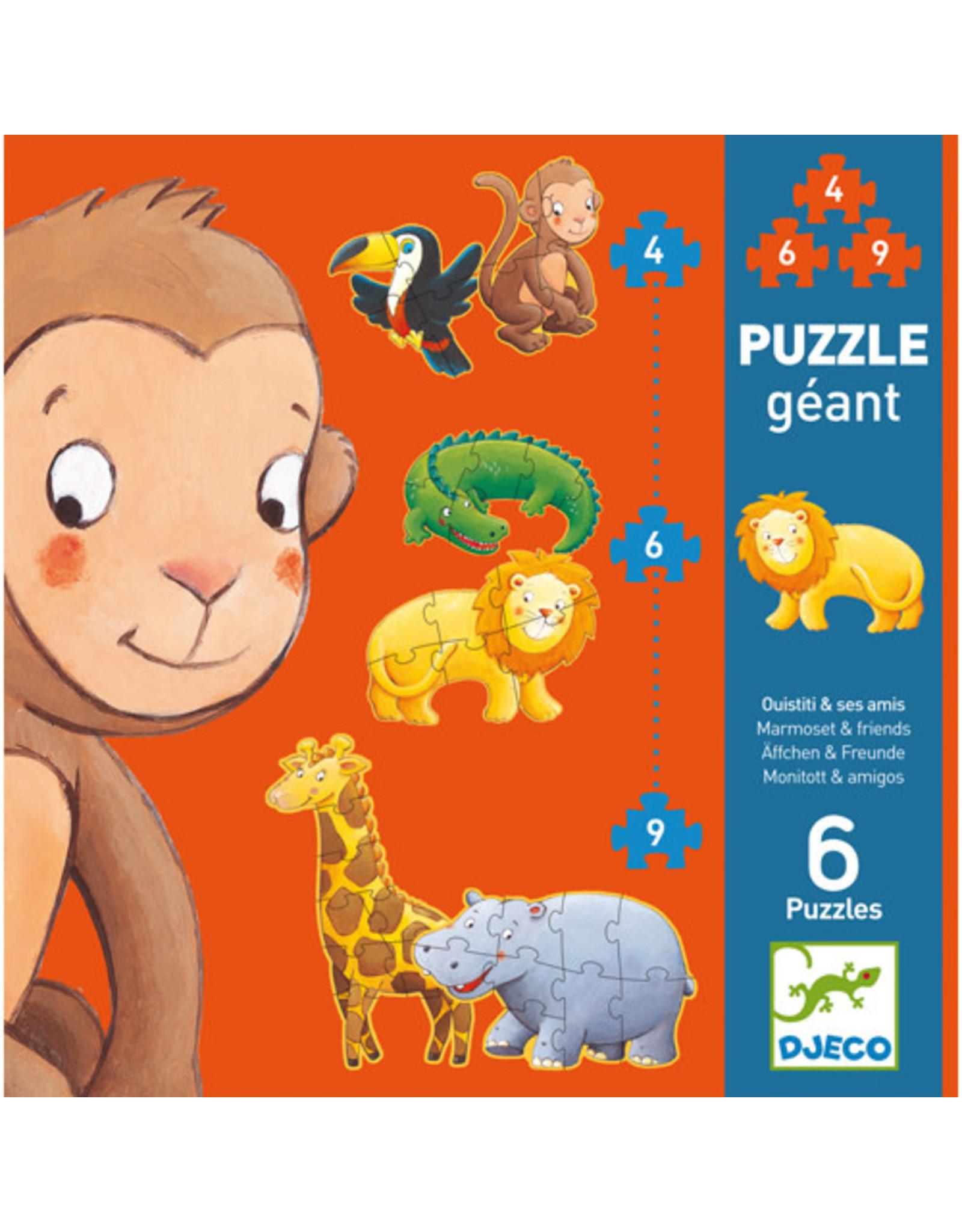 Djeco Giant Puzzle: Marmoset & Friends 4, 6 & 9pc