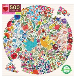 eeBoo Blue Bird Yellow Bird 500pc Round Puzzle