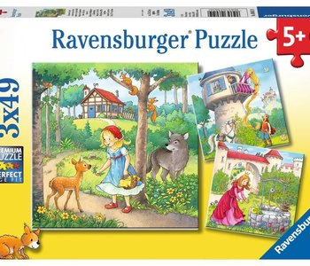 Rapunzel, Red Riding Hood & Frog King 3x49pc Puzzles