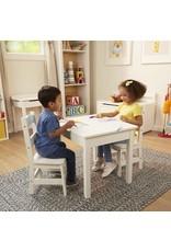 Melissa & Doug Wooden Table & Chairs (2 chairs) White - Melissa & Doug