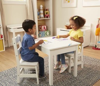 Wooden Table & Chairs (2 chairs) White - Melissa & Doug