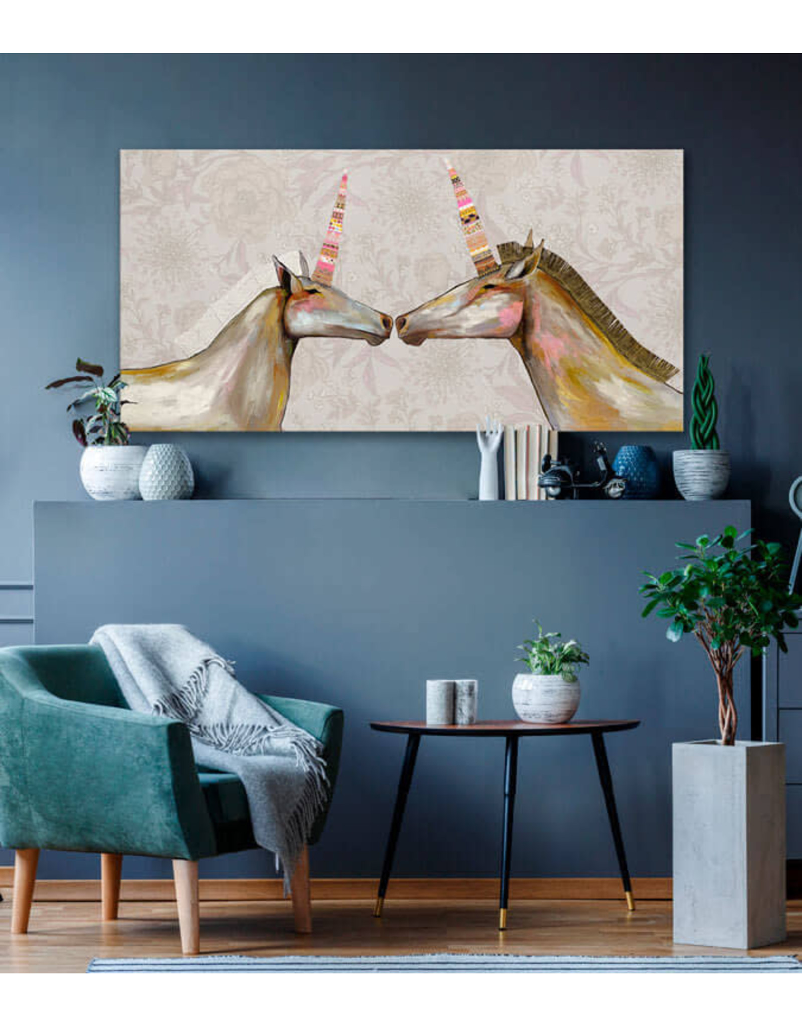Greenbox Unicorns With Patterned Horns Painting 48x24