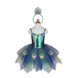 Great Pretenders Pretty Peacock Dress w Headband Ages 5-6