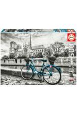 Educa B&W Bike near Notre Dame 500pc Puzzle
