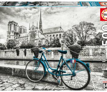 B&W Bike near Notre Dame 500pc Puzzle