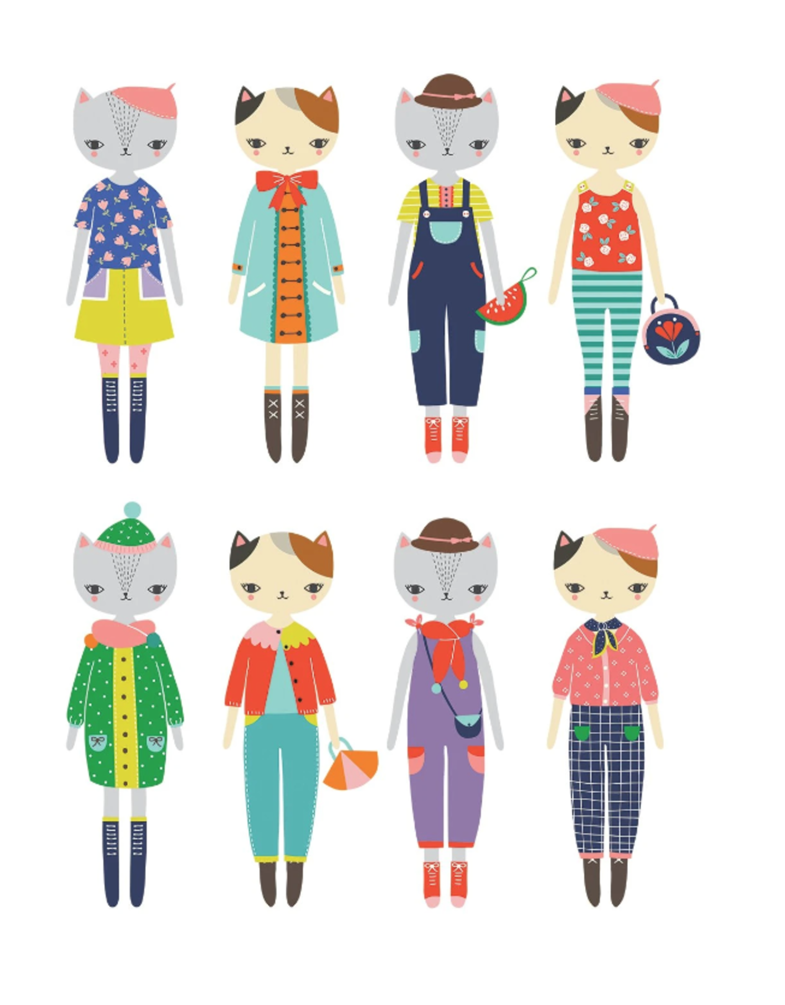 Mudpuppy Cat Fashion Magnetic Figures