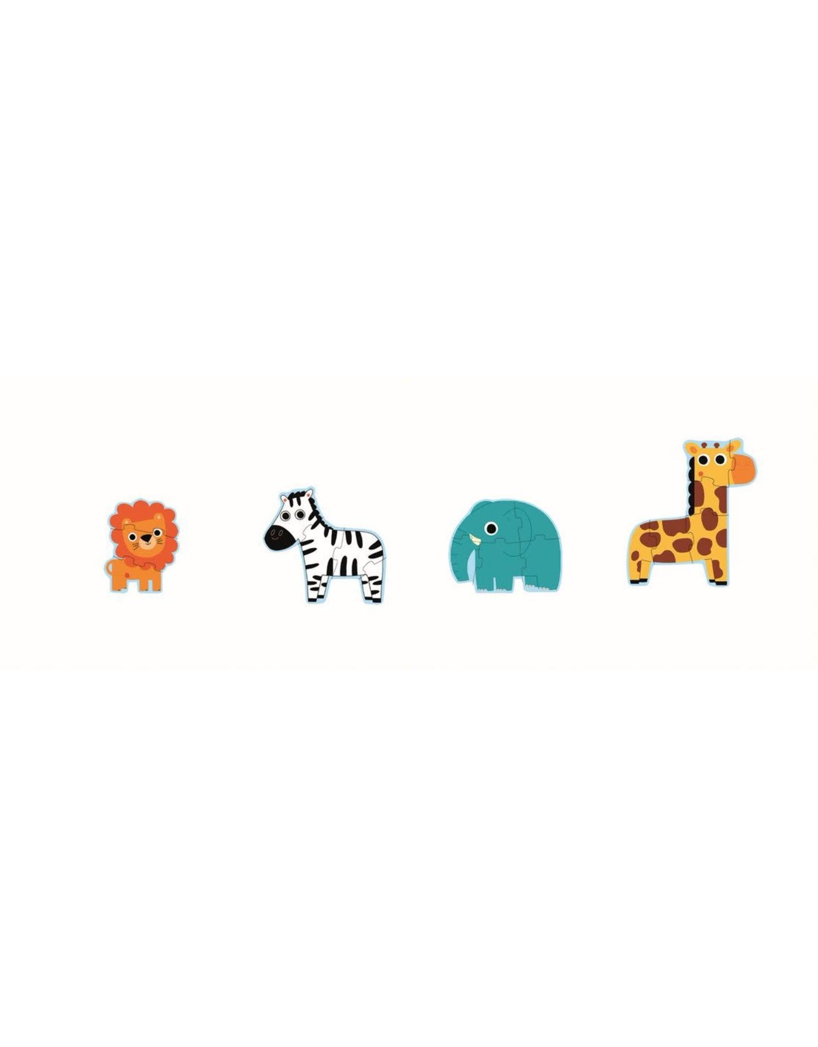 Djeco Primo Puzzle: In The Jungle 3, 4, 5 & 6 pc