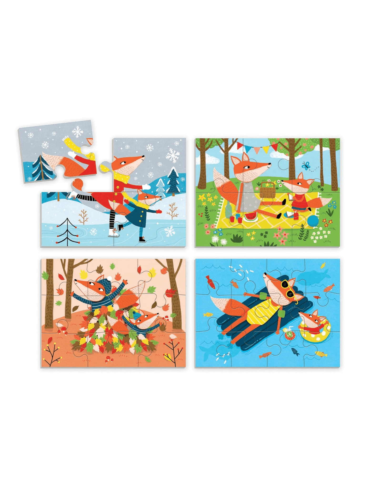Mudpuppy Foxes Four Seasons 4, 6, 9 & 12pc Puzzles