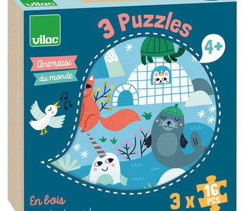 Animals of the World 3 x 16pc Wooden Puzzles