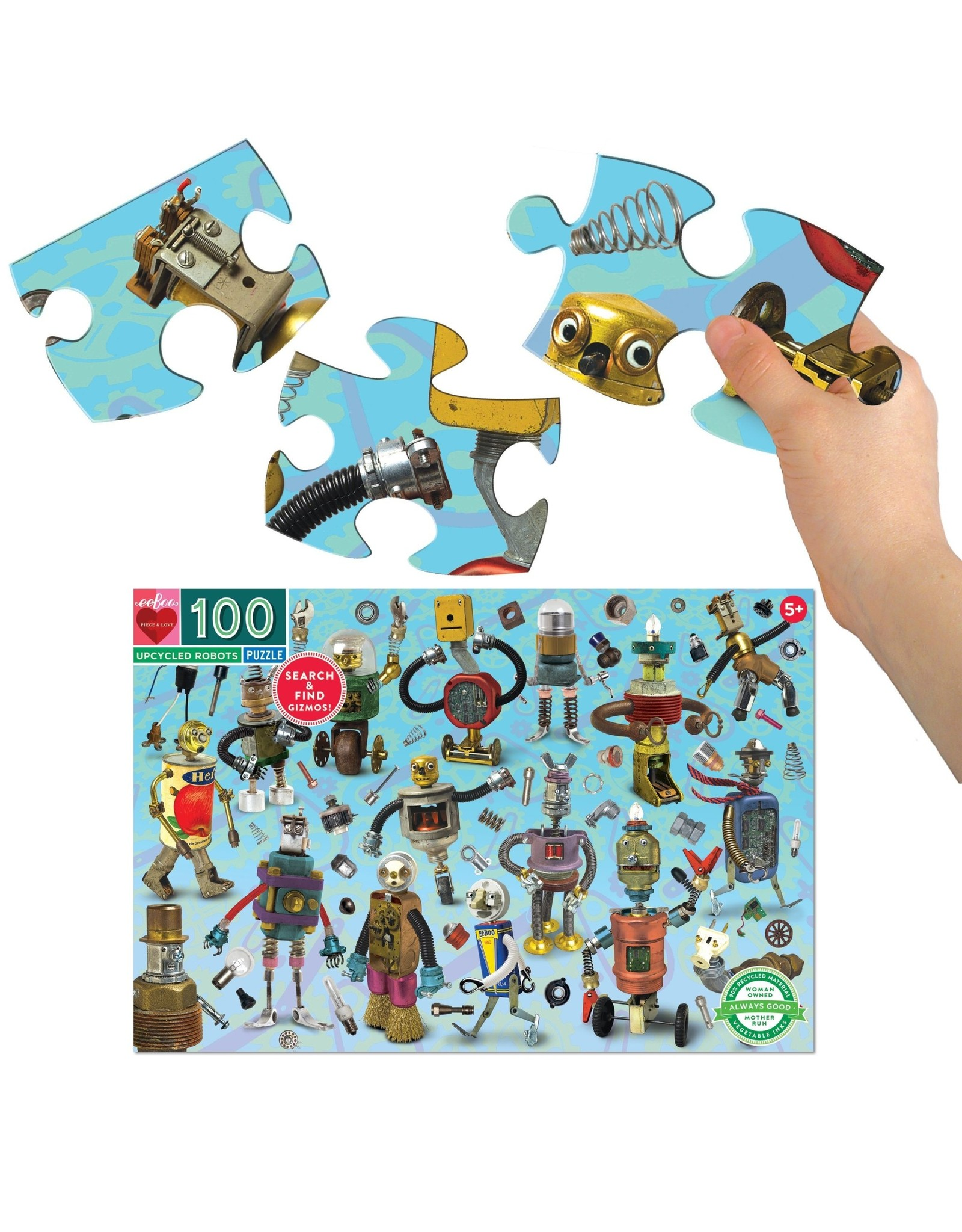 eeBoo Upcycled Robots 100pc Puzzle