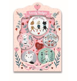 Djeco Lovely Badges Button Pins Cats