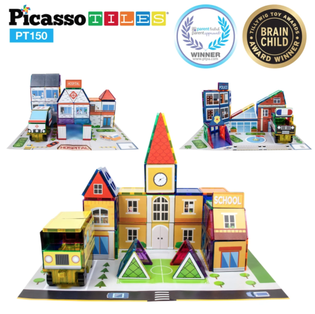 Picasso Tiles School, Hospital & Police Combo Set 150pc