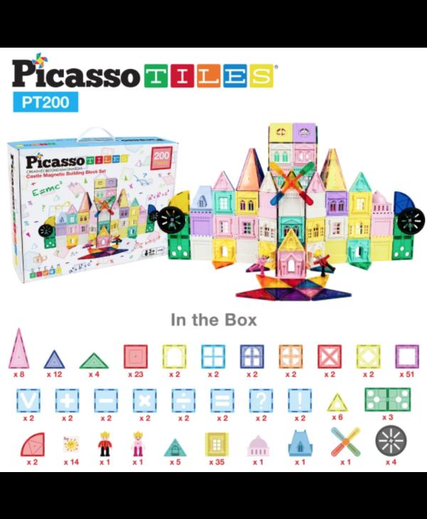 Picasso Tiles Castle Magnetic Building Block 200pc Set
