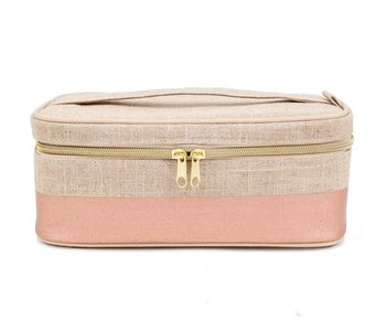 Rose Gold Linen Beauty Pouch