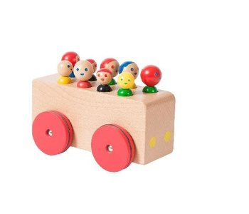 Wooden Bus with Passengers