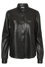 Noisy May Faux Leather Button Down