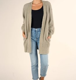 Love Stitch Fuzzy Rib Stitch Cardigan