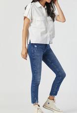 Mavi Tess Mid Rise Destroyed Hem Jeans