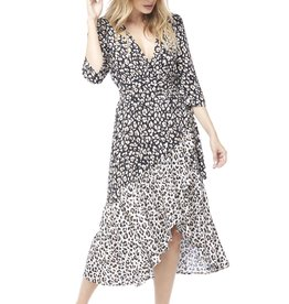 Saltwater Luxe Mikey 3/4 Sleeve Leopard Wrap Dress