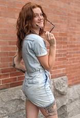 Mavi Marisa Short-Sleeve Denim Utility Jumpsuit
