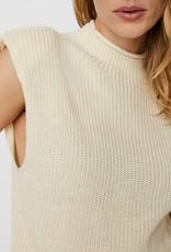 Vero Moda Lala High Neck Padded Shoulder Knit Top
