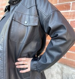 Noisy May Freddie Faux Leather Shacket