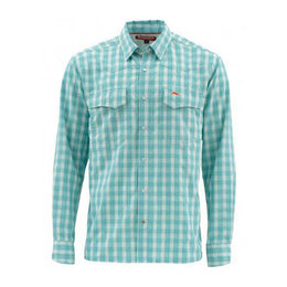 Simms Fishing Products Simms Big Sky Shirt Aqua Plaid Medium