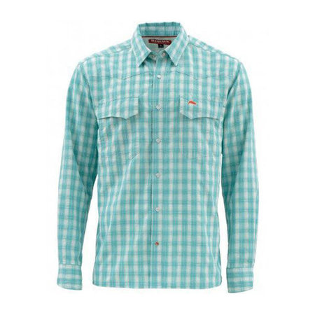 Simms Fishing Products Simms Big Sky Shirt Aqua Plaid Medium