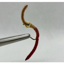 Fly Boy Angler Power Worm| Nymph | Gold Bead |  Brown/Red | #8