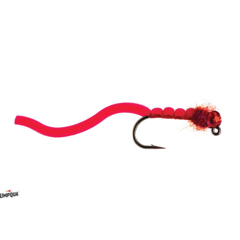 Umpqua Feather Merchants Squirmy Wormie Jigged | Nymph| Red | Pink | #12