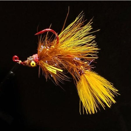 Dirty Water Fly Company Smoke & Mirrors Jig Fly   Articulated Streamer   WY- Yellow   #2