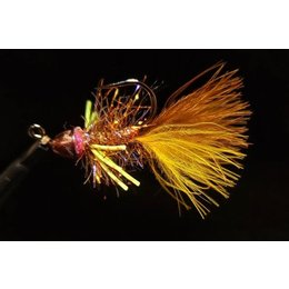 Dirty Water Fly Company Lil Smokey Conehead Bugger | Streamer | Wy - Yellow , Dirty Black | #4