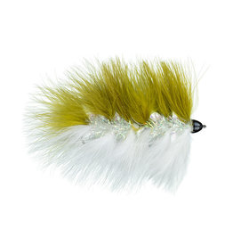 Galloup's Barely Legal | Streamer | Conehead | Olive/White, Olive Sunburst/Yellow | #4