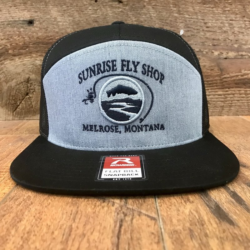 Richardson Sunrise Logo Hat | Panel Flatbill Trucker | Heather Grey/Black, Brown/Khaki, Black/Camo