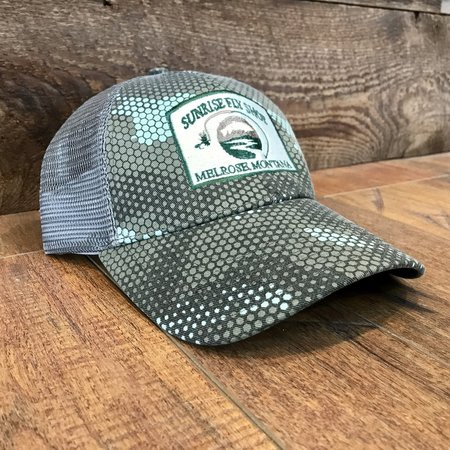 Simms Fishing Products Simms Trucker Hat Hex Camo Boulder Sunrise Icon