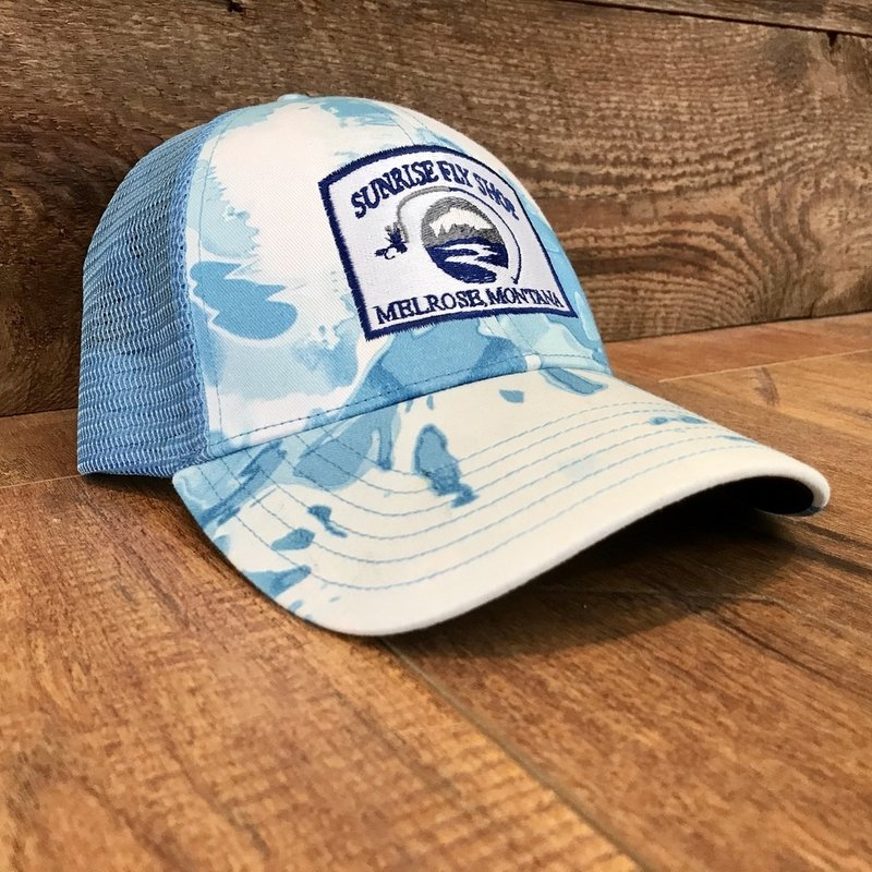 Simms Fishing Products Simms Trucker Hat Cloud Camo Blue Sunrise Icon