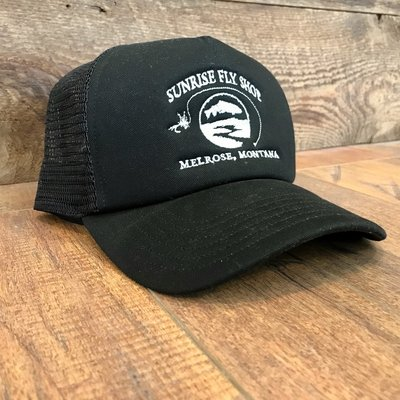 Simms Fishing Products Simms Foam Trucker Hat Black Sunrise Icon High Crown