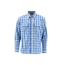 Simms Fishing Products M's Big Sky LS Shirt | Mist Plaid | Simms Orange | With Sunrise fly Shop Logo