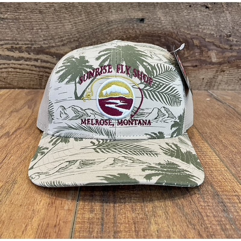 Richardson Sunrise Logo Hat | Trucker | Digital Camo, Heather | Navy/Charcoal | Khaki Island Print Grey