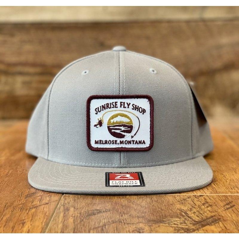 Richardson Sunrise Logo Hat | Wool Flatbill Snapback | Solid Grey