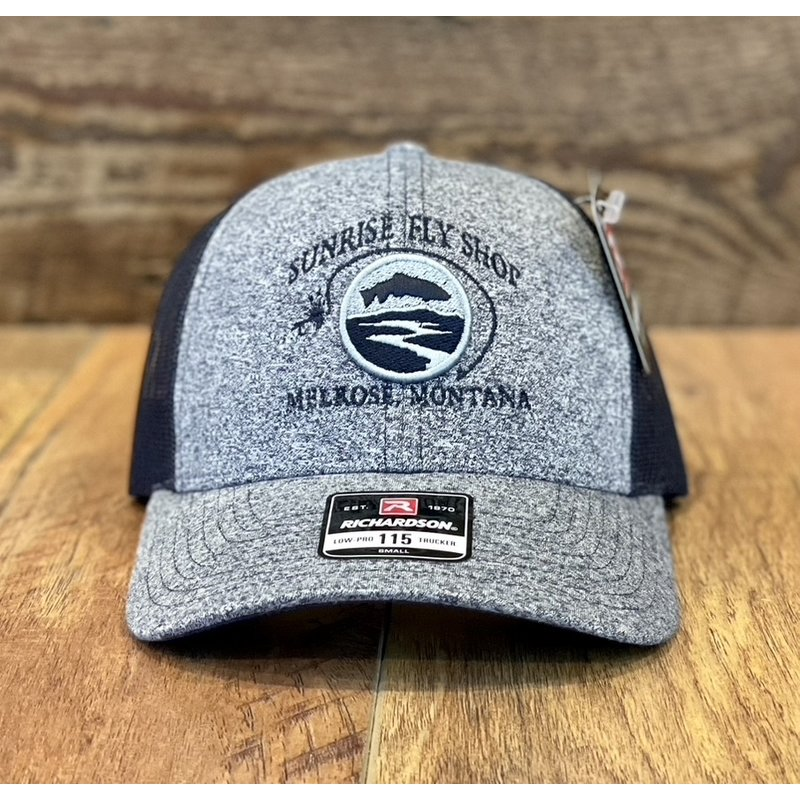 Richardson Sunrise Logo Hat | Small Low Pro Trucker | Lilac/Birch, Blue/Aluminum, Red/Birch