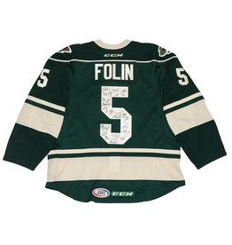 Team Signed Folin #5 Green Jersey
