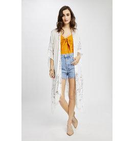 Gentle Fawn Gentle Fawn - Long Paisley Kimono Jacket/White one size