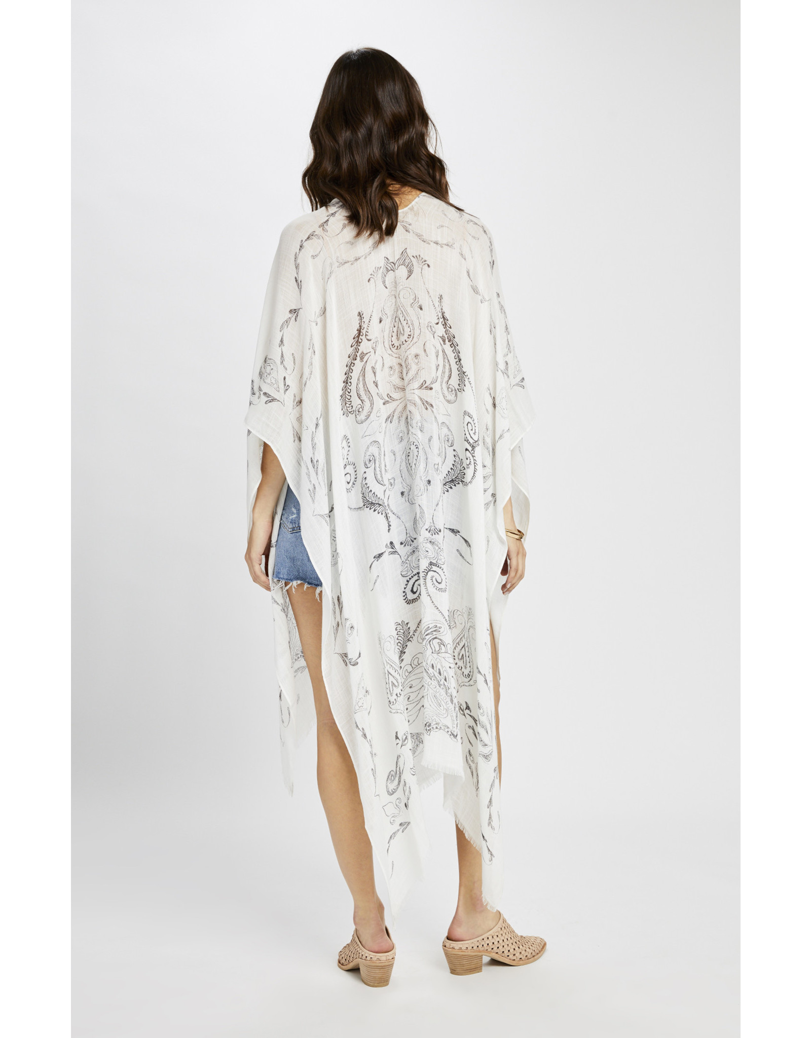 Gentle Fawn Gentle Fawn - Long Paisley Kimono Jacket/White one size